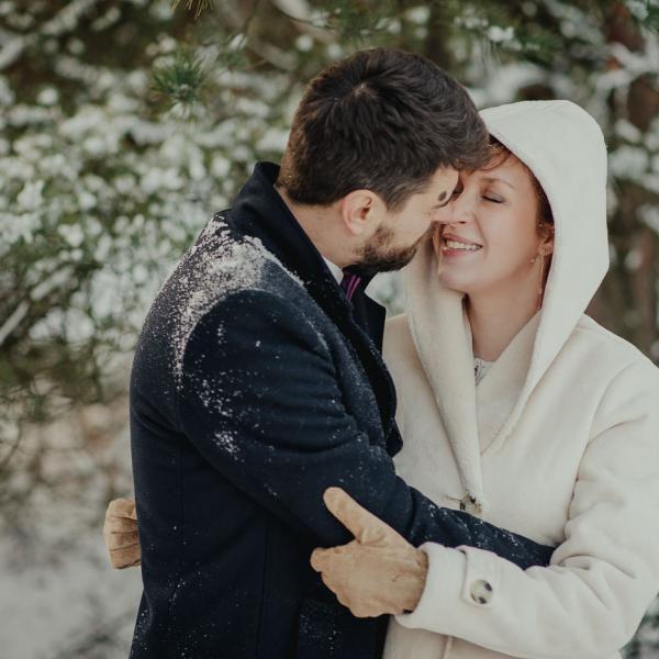 Zimowy plener ślubny Magdy iMariusza